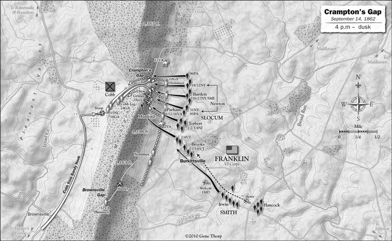 Battle of South Mountain: Crampton,s Gap, September 14, 1862, evening map