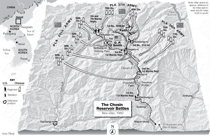 Map of the Battle of Chosin Reservoir