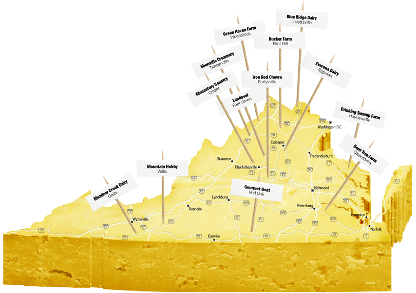 Virginia Cheese Producers Map